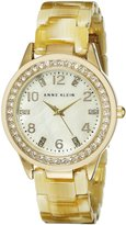 Anne Klein Women's 10/9956CMHN Swarovski Crytals Accented Gold-Tone Horn Resin Mother-Of-Pearl Watch