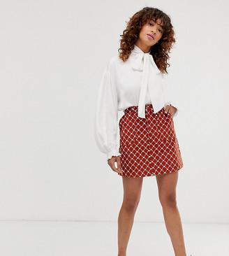 Monki heart chain print A-line cord mini skirt in rust-Brown