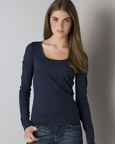Women's Pima Cotton and Modal Extra Long Sleeve Scoopneck Tee