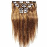 "SHOWJARLLY 24"" Straight Clip in Hair Extensions Human Hair 7Pcs/120g Instant Full Head Remy Clip in Hair P4/8 (Chocolate Brown+Light Chestnut Brown)"