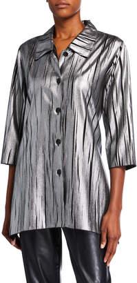 Caroline Rose Button-Front Silver Streak Swing Shirt