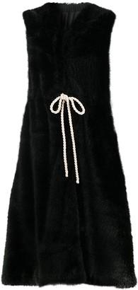 Sara Lanzi Long Sleeveless Faux Fur Coat