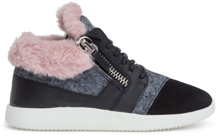 937f9bfdd49 Kriss black suede pink shearling sneakers