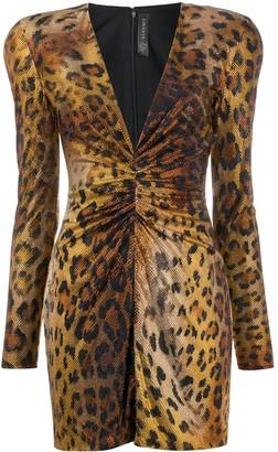 Versace Crystal Embellished Leopard Mini Dress