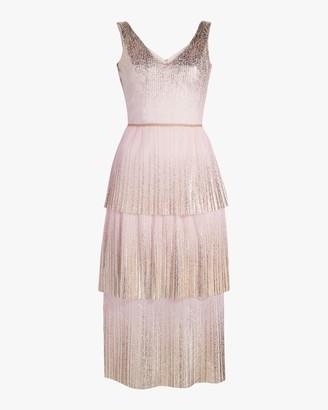 Marchesa Notte V Neck Foil-Tiered Cocktail Dress
