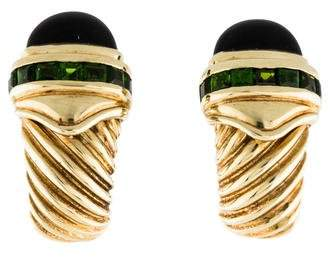David Yurman 14K Tourmaline & Onyx Cable Shrimp Earrings