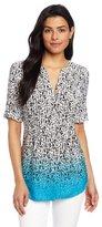 Chaus Women's Pleat Button Front Graphic Ombre Blouse