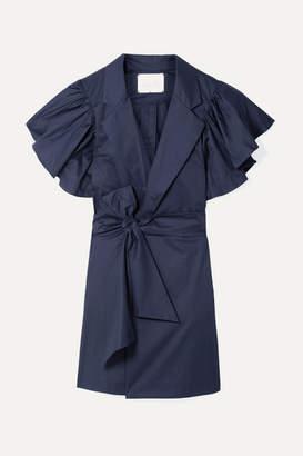 Johanna Ortiz Tulip Evolution Ruffled Stretch-cotton Poplin Wrap Mini Dress - Midnight blue