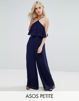 Asos Jumpsuit in Crinkle with Wide Leg and Halter Neck