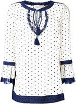 Tory Burch square dot tunic - women - Silk/Spandex/Elastane - 6