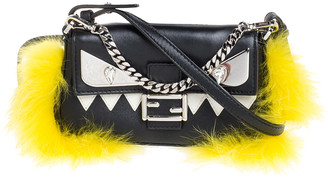 Fendi Black Leather Mini Monster Fur Baguette