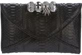 Maison Du Posh python leather knuckle clutch