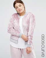 Asos Velvet Tracksuit Bomber Jacket With Tipping Co-ord