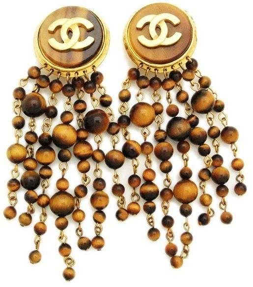 Chanel CC Logo Gold Tone Metal Brown Beads Fringe Tassel Dangle Earrings