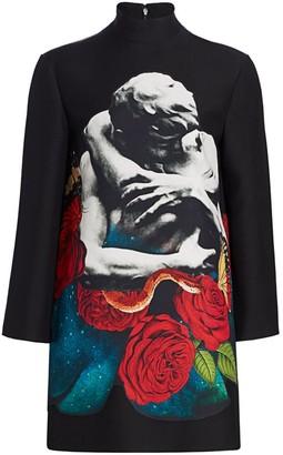 Valentino Lovers Print Mockneck Virgin Wool & Silk Shift Dress