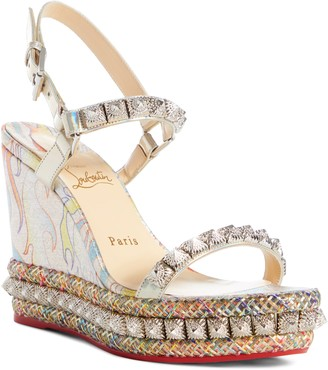 Christian Louboutin Pira Flame Studded Wedge Sandal