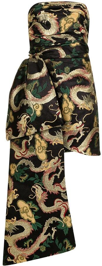 Isabel Sanchis Dragon-Brocade Sash Dress