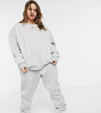 Chelsea Peers Curve organic cotton heavy weight lounge sweatpants in gray marl