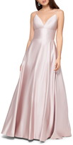 Betsy & Adam V-Neck Satin Princess Gown