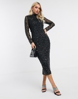 Asos Design DESIGN all over gem embellished midi dress