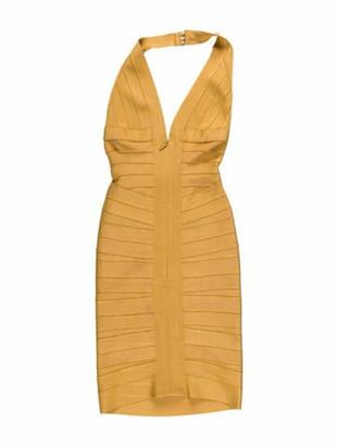 Herve Leger V-Neck Mini Dress Yellow