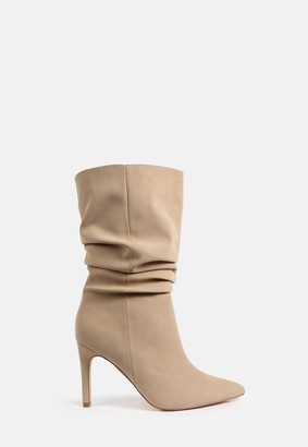 Missguided Sand Faux Suede Ruched Stiletto Ankle Boots