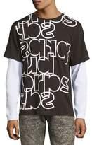 PRPS Mixed Up Long-Sleeve Logo T-Shirt, Black