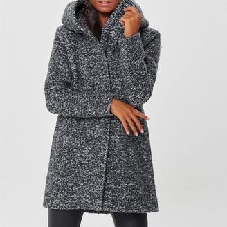 Only Wool Mix Boucle Coat with Hood