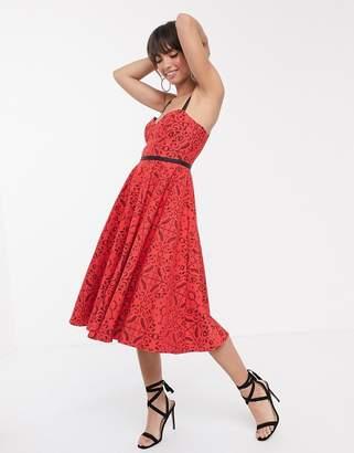Asos Design DESIGN geo lace midi prom dress with grosgrain straps-Red