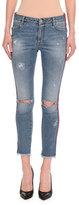 Ermanno Scervino Distressed Side-Stripe Skinny Jeans, Indigo