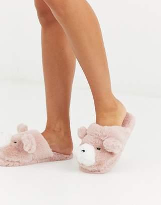 Women'secret fluffy 3D bear slippers in pink