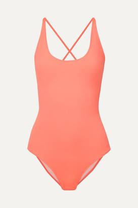 Marios Schwab On The Island By Lace-up Swimsuit - Coral