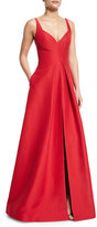 Halston Sleeveless V-Neck Structured Gown, Carmine