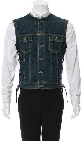 Saint Laurent 2013 Leather Trimmed Denim Vest