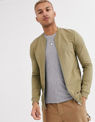 Asos Design DESIGN muscle jersey bomber jacket in light khaki with silver side zips-Green