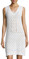 Letarte Sleeveless Crochet Lace-Up Dress, White