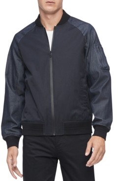 Calvin Klein Men's Colorblocked Mix-Media Bomber Jacket