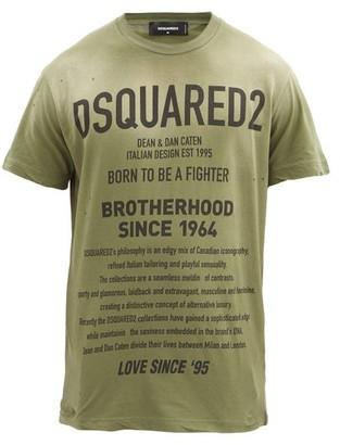 DSQUARED2 Distressed Logo-print Cotton-jersey T-shirt - Green
