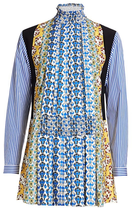 Prada Raso Mixed Print Shirtdress