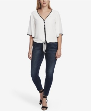 Vince Camuto Women's Bell Sleeve Tie Front Blouse with Contrast Piping