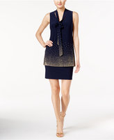 Betsy & Adam Tie-Neck Embellished Popover Dress