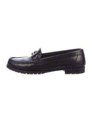 Salvatore Ferragamo Horsebit Accent Leather Loafers Black