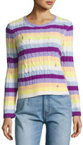 Marc Jacobs Striped Cashmere Cable Crewneck Sweater, Purple/Orange/Yellow
