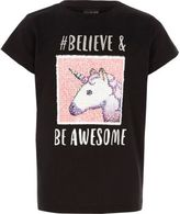 River Island Girls Black reversible unicorn emoji T-shirt