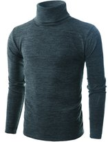 Ohoo Mens Slim Fit Soft Cotton Blend Turtleneck Pullover Sweater/DCP006-CHARCOAL-S