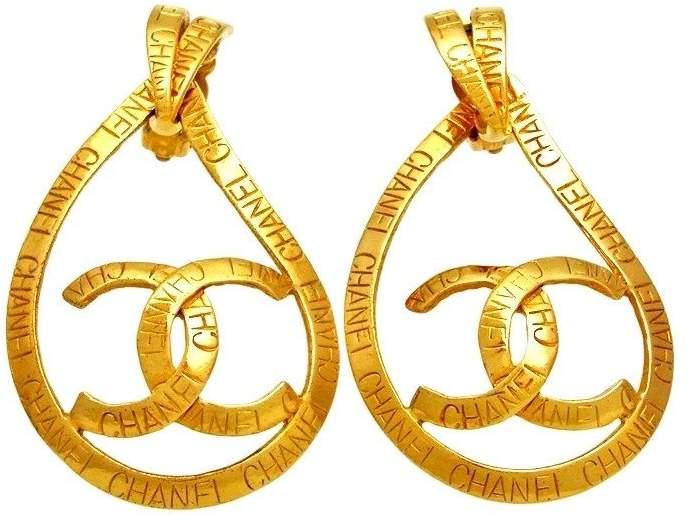 Chanel CC Logo Gold Tone Metal Hoop Dangle Earrings