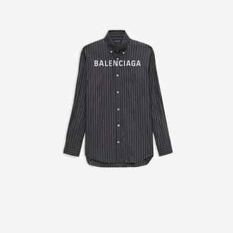 Balenciaga Chest Logo Shirt in black and white pinstripe printed cotton poplin