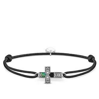 Thomas Sabo Unisex Bracelet Little Secret Cross Abalone Mother-of-Pearl 925 Sterling Silver, Blackened LS083-482-11