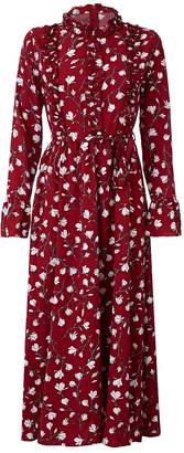 Hasanova Red Lily Printed Red Silk Maxi Dress