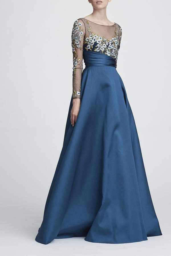 Marchesa Long Sleeve Gown